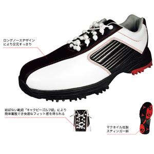 KMSS-1612 W/B 250 キャスコ メンズ・スパイク・ゴルフシューズ ホワイト/ブラック 25.0cm