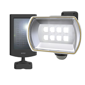 S-80L ムサシ ソーラー充電式LEDセンサーライト 8W メーカー直売 ワイド S80L ご注文で当日配送 RITEX
