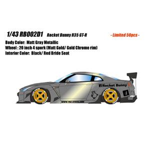 1/43 Rocket Bunny R35 GT-R(4スポークホイール)マットグレーメタリック【RB002D1】 メイクアップ