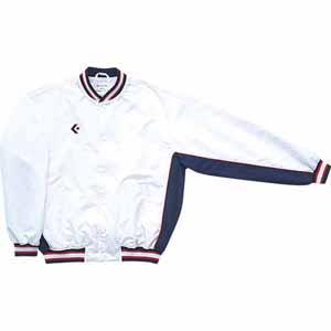 CB44501S-1129-150 コンバース ジュニア用ウォームアップジャケット(前ボタン)(ホワイト/ネイビー・サイズ:150) CONVERSE