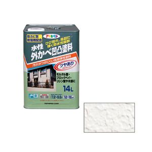 ソトカベオウトツツヤアリ14L W アサヒペン 水性外かべ凹凸塗料ツヤあり 14L(ホワイト)