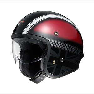 J・O HAWKER-RDSIL-L SHOEI ストリートジェットヘルメット(TC-1(レッド/シルバー) L) J・O HAWKER