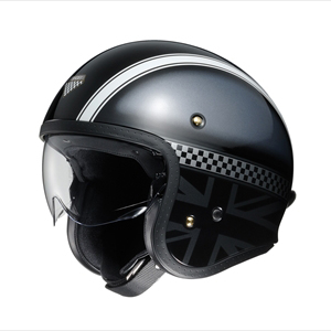 J・O HAWKER-BKSIL-M SHOEI ストリートジェットヘルメット(TC-5(ブラック/シルバー)[M]) J・O HAWKER
