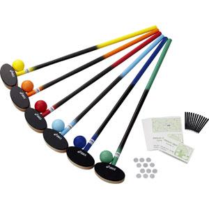 GGG113-F アシックス グラウンドゴルフ クラブ・樹脂ボール6色セット(サイズ:83cm) asics グラウンドゴルフセット