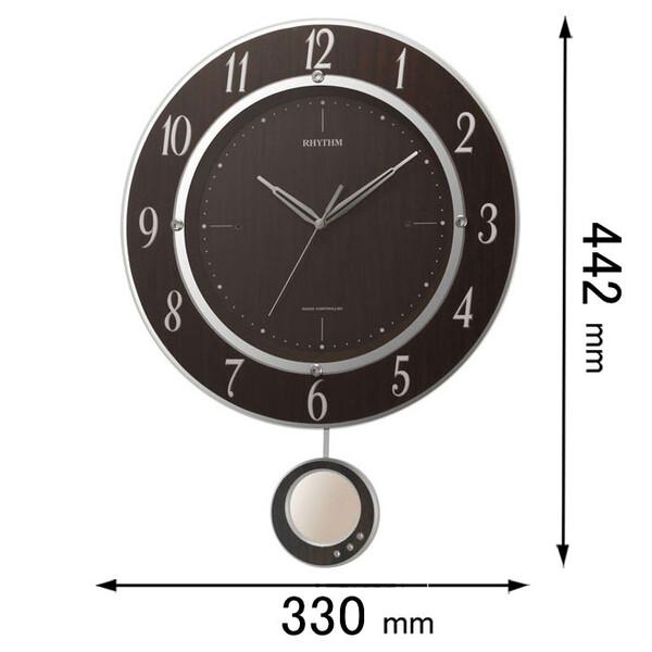 8MX403SR23 リズム時計 電波掛け時計 振り子 [トライメテオDX23]【返品種別A】