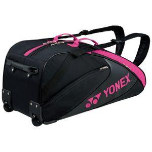 YONEX BAG1732C 181 ヨネックス ラケットバッグ(キャスター付き)(ブラック/ピンク・テニス6本用) ラケットバッグ(キャスター付き)
