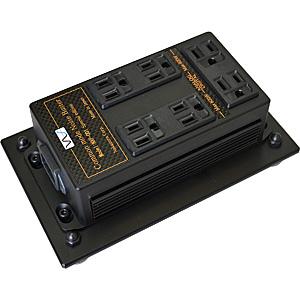 NXP-001SE-BLACK 中村製作所 電源タップ(出力アナログ用・デジタル用 合計7口)《黒クローム・サイドパネル》【受注生産品】 NS 《電源雑音軽減機(床据置型)》