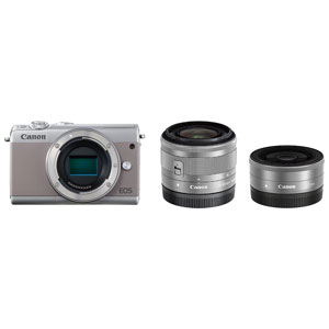 EOSM100GY-WLK キヤノン ミラーレス一眼カメラ「EOS M100」ダブルレンズキット(グレー) Canon