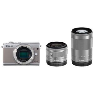 EOSM100GY-WZK キヤノン ミラーレスカメラ「EOS M100」ダブルズームキット(グレー)