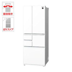 (標準設置料込)SJ-GT50D-W シャープ 502L 6ドア冷蔵庫(ピュアホワイト) SHARP プラズマクラスター冷蔵庫