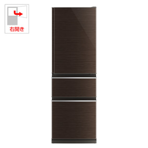 MR-CX37C-BR 三菱 365L 3ドア冷蔵庫(グロッシーブラウン)【右開き】 MITSUBISHI