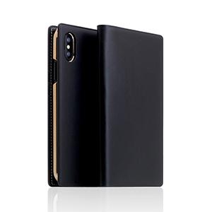 SD10508I8 SLG Design iPhone XS/X用 手帳型 BUTTERO LEATHER CASE(ブラック)