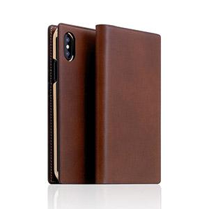SD10509I8 SLG Design iPhone XS/X用 手帳型 BUTTERO LEATHER CASE(ブラウン)