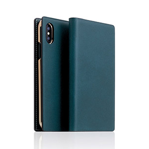 SD10510I8 SLG Design iPhone XS/X用 手帳型 BUTTERO LEATHER CASE(ブルー)