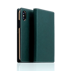 SD10513I8 SLG Design iPhone XS/X用 手帳型 MINERVA BOX LEATHER CASE(ブルー)