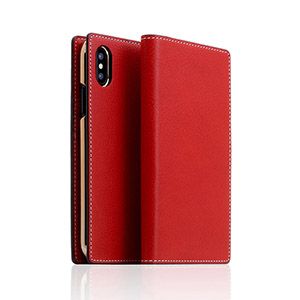SD10514I8 SLG Design iPhone X用 手帳型 MINERVA BOX LEATHER CASE(レッド)