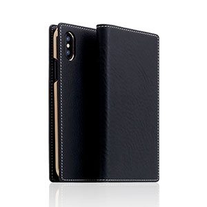 SD10516I8 SLG Design iPhone XS/X用 手帳型 MINERVA BOX LEATHER CASE(ブラック)