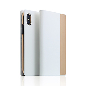 SD10545I8 SLG Design iPhone XS/X用 手帳型 CALF SKIN METAL CASE(ホワイト)