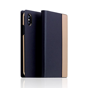 SD10546I8 SLG Design iPhone XS/X用 手帳型 CALF SKIN METAL CASE(ネイビー)