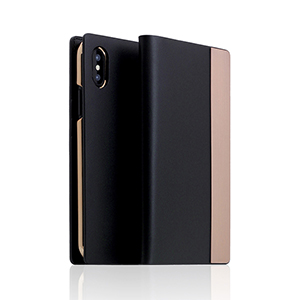 SD10547I8 SLG Design iPhone XS/X用 手帳型 CALF SKIN METAL CASE(ブラック)