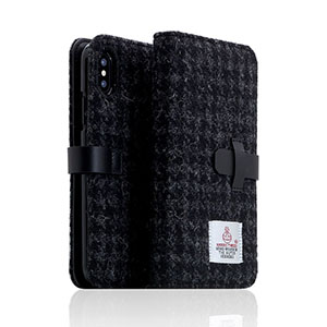 SD10553I8 SLG Design iPhone X用 手帳型 HARRIS TWEED(ブラック)