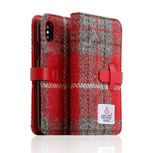 SD10554I8 SLG Design iPhone XS/X用 手帳型 HARRIS TWEED(レッド/グレー)