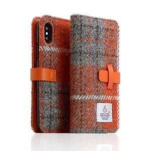 SD10555I8 SLG Design iPhone XS/X用 手帳型 HARRIS TWEED(オレンジ/グレー)