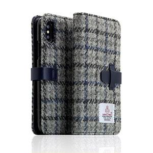 SD10556I8 SLG Design iPhone X用 手帳型 HARRIS TWEED(グレー/ネイビー)