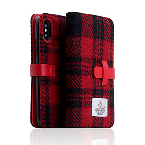 SD10557I8 SLG Design iPhone X用 手帳型 HARRIS TWEED(レッド/ブラック)