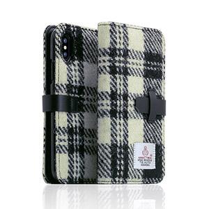 SD10558I8 SLG Design iPhone X用 手帳型 HARRIS TWEED(ホワイト/ブラック)