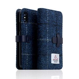 SD10559I8 SLG Design iPhone XS/X用 手帳型 HARRIS TWEED(ネイビー)