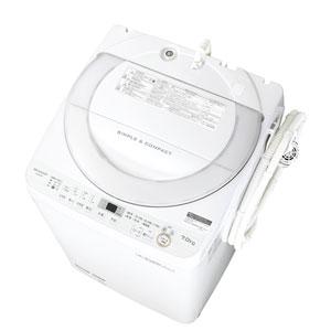 (標準設置料込)ES-GE7B-W シャープ 7.0kg 全自動洗濯機 ホワイト系 SHARP 穴なし槽