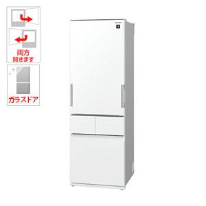 (標準設置料込)SJ-GT42D-W シャープ 415L 4ドア冷蔵庫(ピュアホワイト) SHARP プラズマクラスター冷蔵庫 どっちもドア