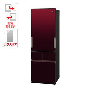 (標準設置料込)SJ-GT42D-R シャープ 415L 4ドア冷蔵庫(グラデーションレッド) SHARP プラズマクラスター冷蔵庫 どっちもドア