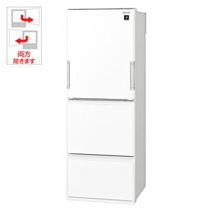 SJ-GW36D-W シャープ 356L 3ドア冷蔵庫(ピュアホワイト) SHARP どっちもドア