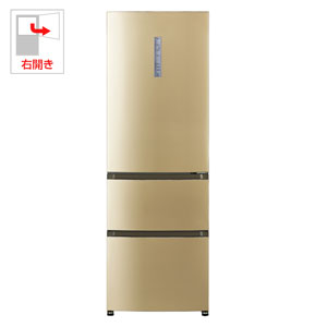 AQR-VT32F-N アクア 320L 3ドア冷蔵庫(ライトシャンパン)【右開き】 AQUA FREEzing+(フリージングプラス)