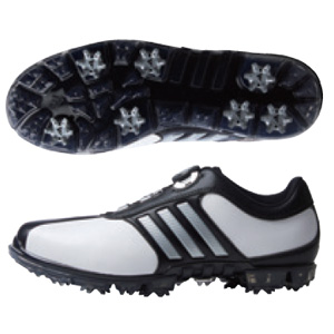 AD17FW Q44896 275 アディダス メンズ・ゴルフシューズ(ホワイト/シルバーメタリック/コアブラック・27.5cm) Adidas 17FW pure metal Boa PLUS / ピュアメタル ボア プラス Q44896