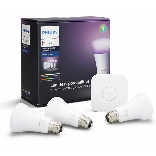 PLH03CS フィリップス LED電球 レフ形 800lm(白色光(1600万色))【電球×3個、ブリッジ】 Philips Hue スターターセット v3
