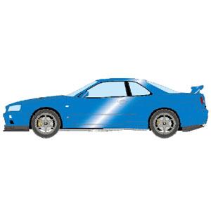 1/43 NISSAN SKYLINE GT-R (BNR34) V-spec II 2000 ベイサイドブルー【EM371A】 メイクアップ