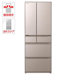 (標準設置料込)R-HW60J-XN 日立 602L 6ドア冷蔵庫(クリスタルシャンパン) HITACHI 真空チルド