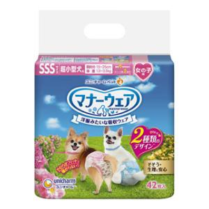 マナーウェア 一部予約 女の子用 SSSサイズ 超小型犬用 ピンクリボン 42枚 新作販売 青リボン マナ-ウエアオンナノコヨウSSS42マイ チャーム ユニ