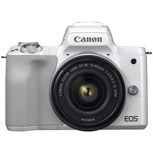 EOSKISSMWH-1545LK キヤノン ミラーレスカメラ「EOS Kiss M」EF-M15-45 IS STM レンズキット(ホワイト)