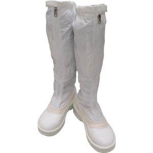 PA9850-W-25.0 ゴールドウイン 静電安全靴ファスナー付ロングブーツ ホワイト 25.0cm クリーンルーム用シューズ
