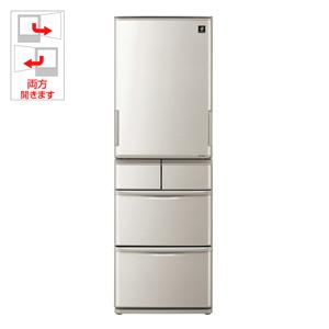 (標準設置料込)SJ-W412D-S シャープ 412L 5ドア冷蔵庫(シルバー系) SHARP プラズマクラスター冷蔵庫 どっちもドア