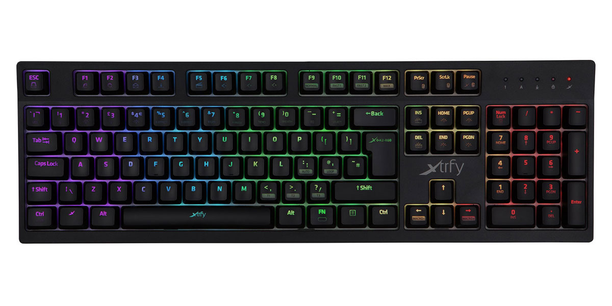 701004 Xtrfy メカニカルゲーミングキーボード K2-RGB 1680万色イルミ 赤軸 英語配列 105キー【日本正規代理店保証品】 エクストリファイ Mechanical keyboard with 16.8 million color LED illumination. XG-K2-R-RGB-UK