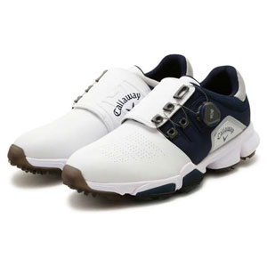 CW 8983501-033 245 キャロウェイ MEN'S ゴルフシューズ (ホワイト/ネイビー・24.5cm) Callaway HYPERCHEV BOA 8983501-033