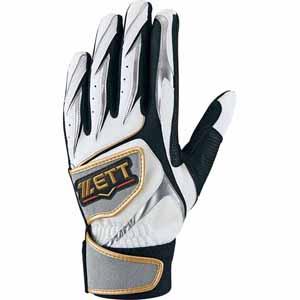 Z-BG355-1113S-27 ゼット 野球・ソフトボール用バッティンググラブ(27cm・ホワイト×シルバーS) ZETT プロステイタス ダブルベルト 一般用 両手用