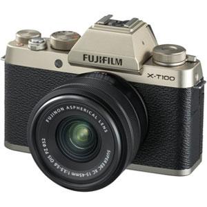 FX-T100LKG 富士フイルム ミラーレスデジタルカメラ「X-T100」レンズキット(シャンパンゴールド)