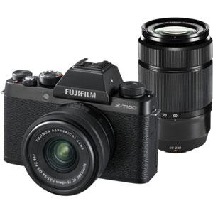 FX-T100WZLKB 富士フイルム ミラーレスデジタルカメラ「X-T100」ダブルズームレンズキット(ブラック)