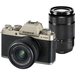 FX-T100WZLKG 富士フイルム ミラーレスデジタルカメラ「X-T100」ダブルズームレンズキット(シャンパンゴールド)